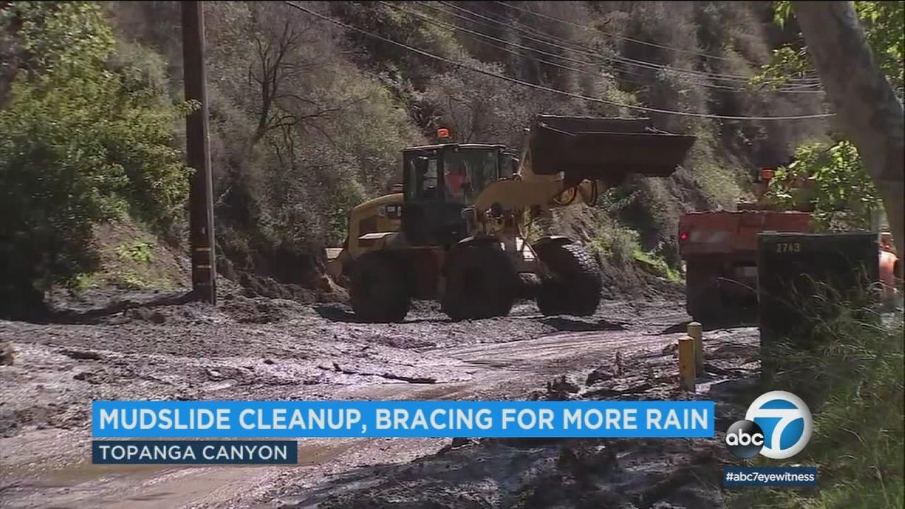 Transit officials and local residents were bracing for more expected rain as a 4-mile section of Topanga Canyon Boulevard remained closed Friday following a mudslide.
