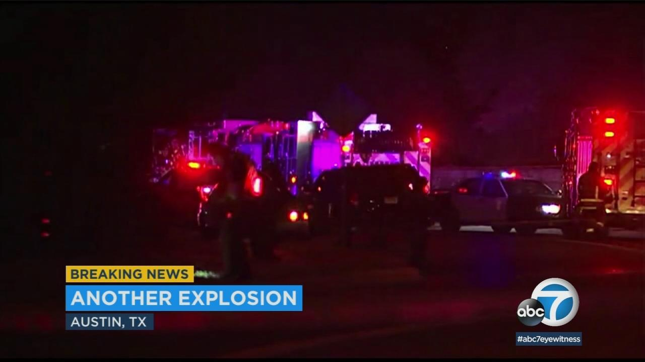 Two men were injured in an explosion in Austin and officials are investigating to see if it is connected to earlier bombings in that city.