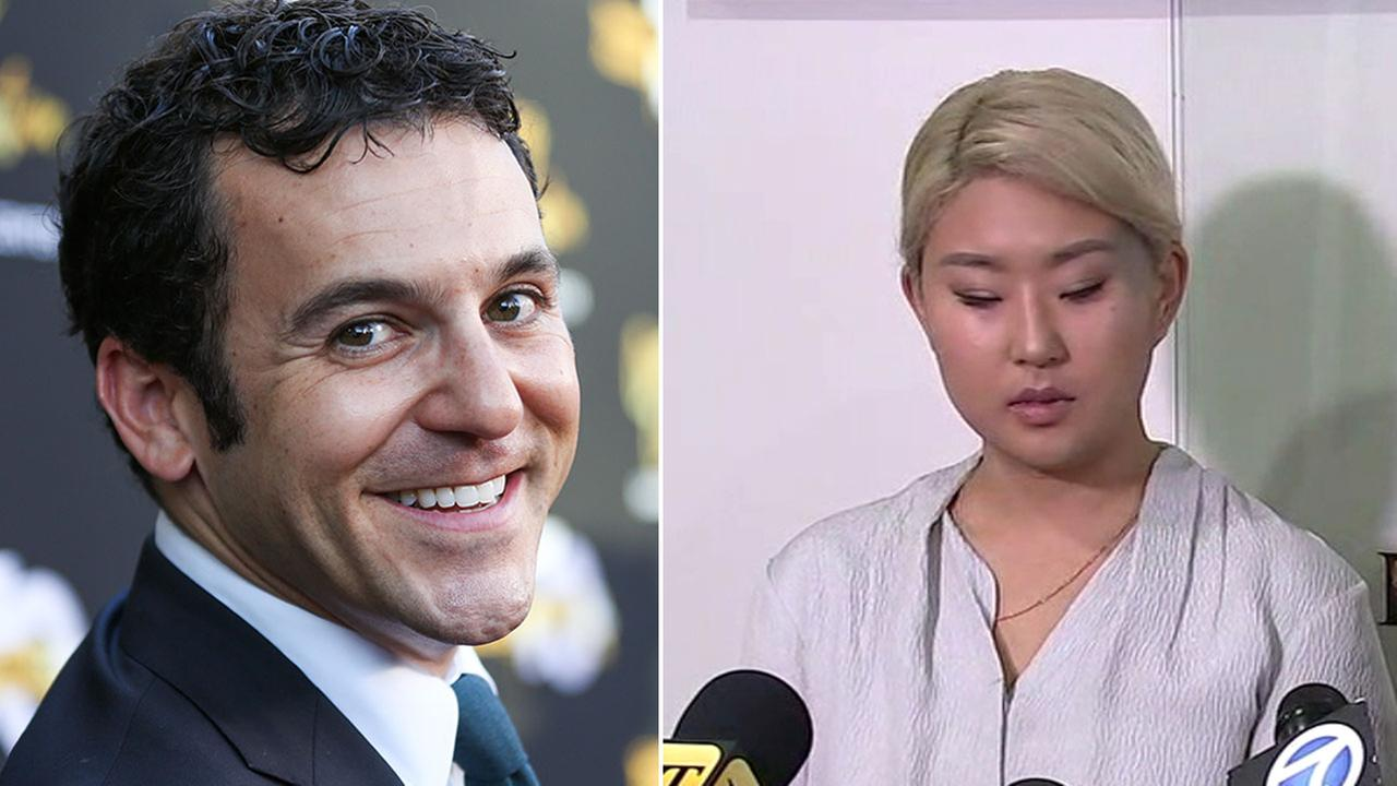 Set costumer YoungJoo Hwang announces a harassment lawsuit against actor Fred Savage (left) on Wednesday, March 21, 2018.