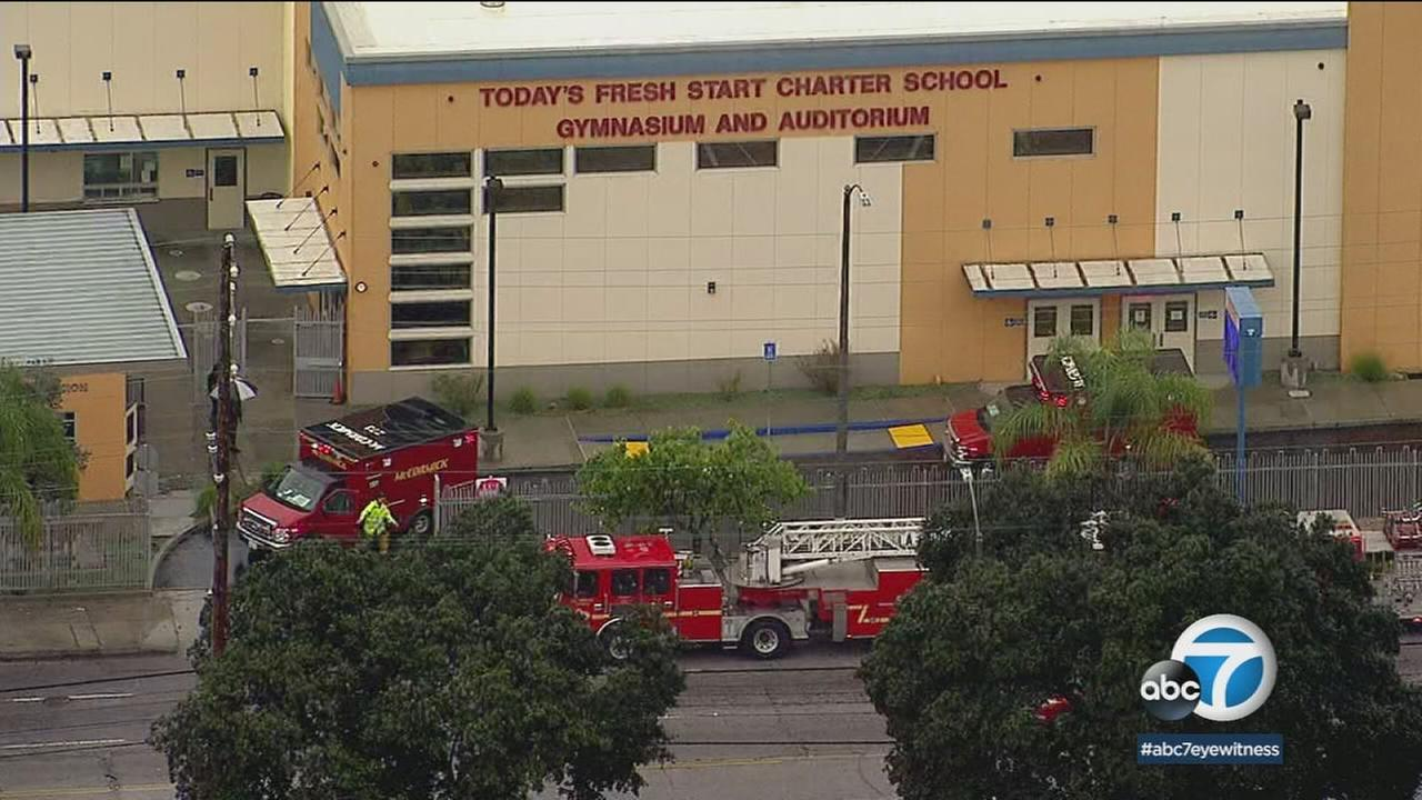 One student was transported to a hospital after more than two dozen people were exposed to pepper spray Thursday morning at a charter school in Inglewood.