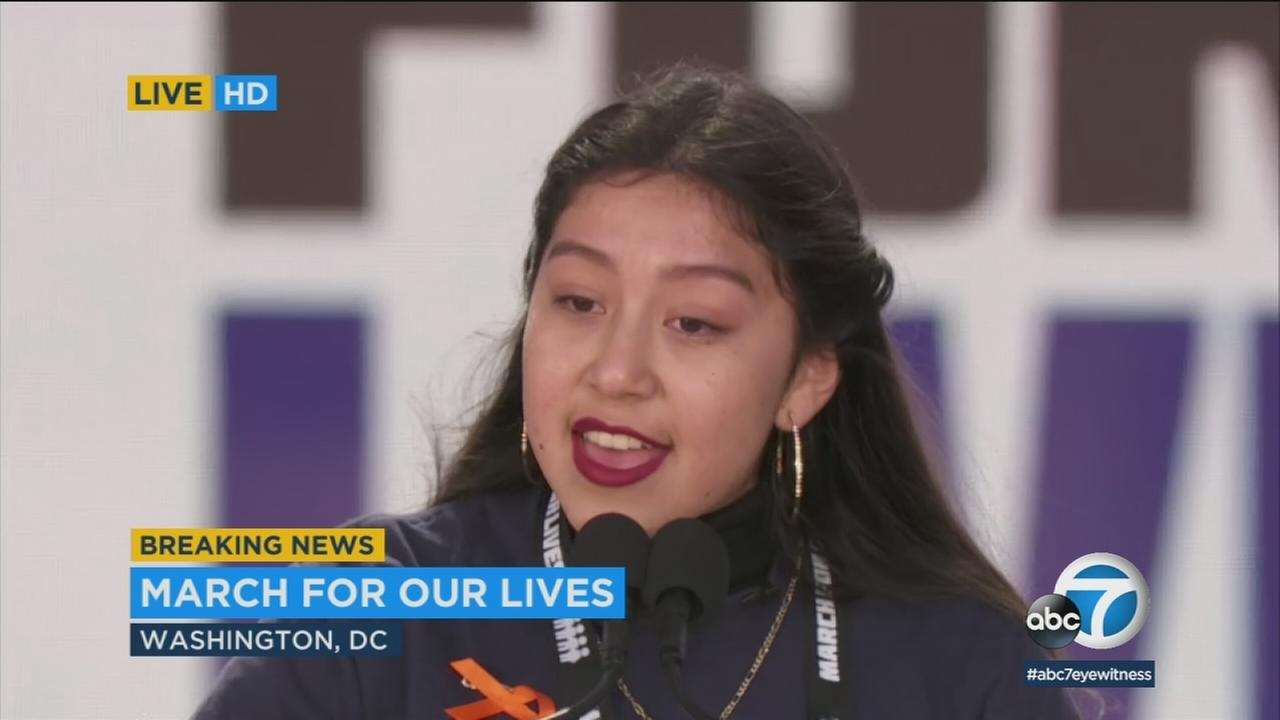 Edna Chavez of South L.A. delivers an emotional speech during March for Our Lives in Washington D.C. on Saturday, March 24, 2018.