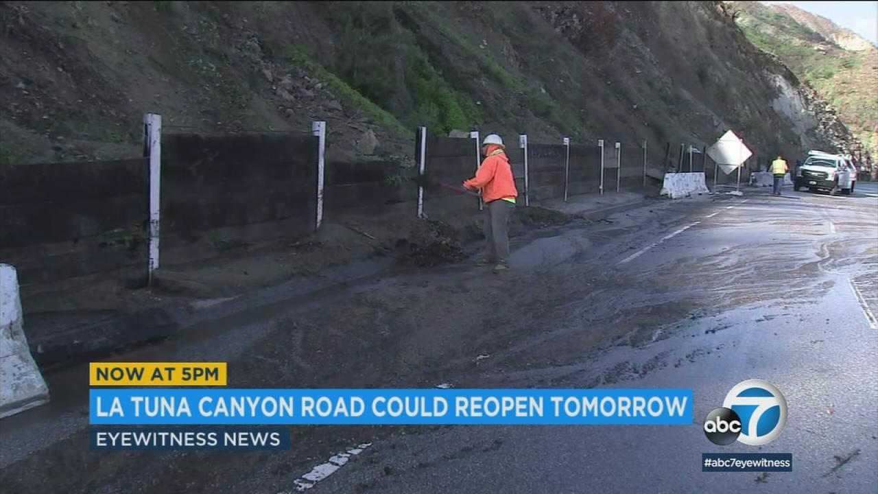 After being closed following a mudslide, La Tuna Canyon Road is reopening Sunday night.