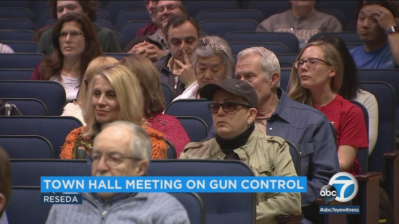 One day after the massive March for Our Lives, gun control was the top topic at a town hall held Sunday by a Los Angeles congressman.