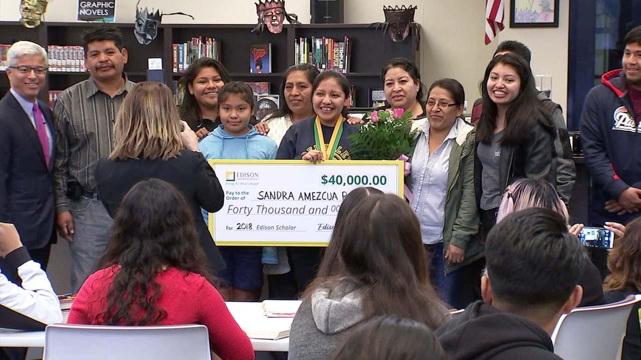 South El Monte High School senior Sandra Amezcua poses for a photo after receiving a $40,000 STEM scholarship from Edison International.