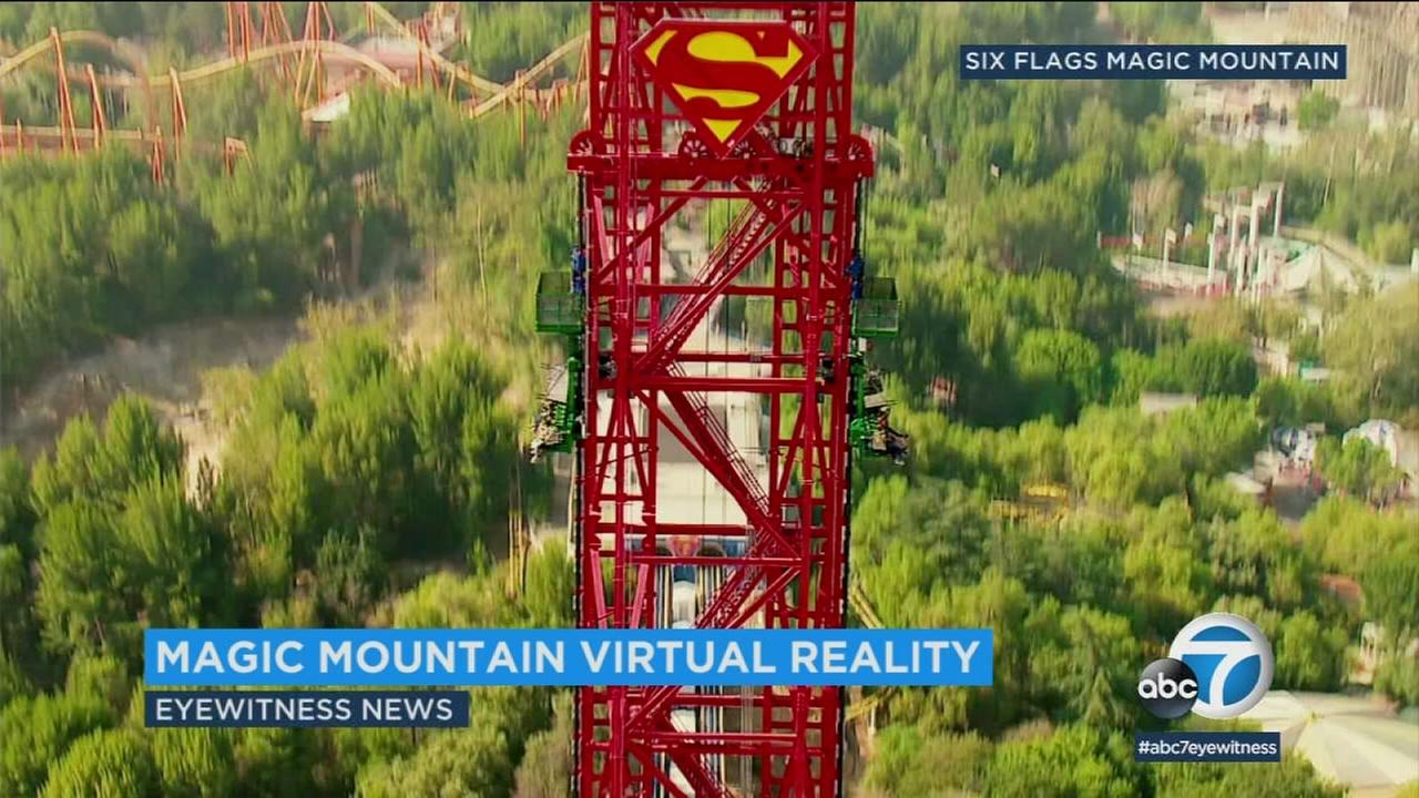 Magic Mountain riders can watch Superman and Wonder Woman battle it out with Lex Luthor in the virtual reality experience DC Super Heroes Drop of Doom VR.