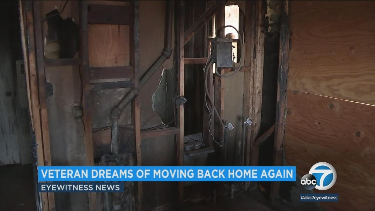 A 70-year-old Navy veteran who lost his Rancho Cucamonga home to fire three years ago is getting help restoring it from Habitat for Humanity.