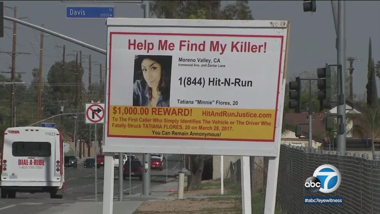 A sign offering a $1,000 reward is shown in Moreno Valley.