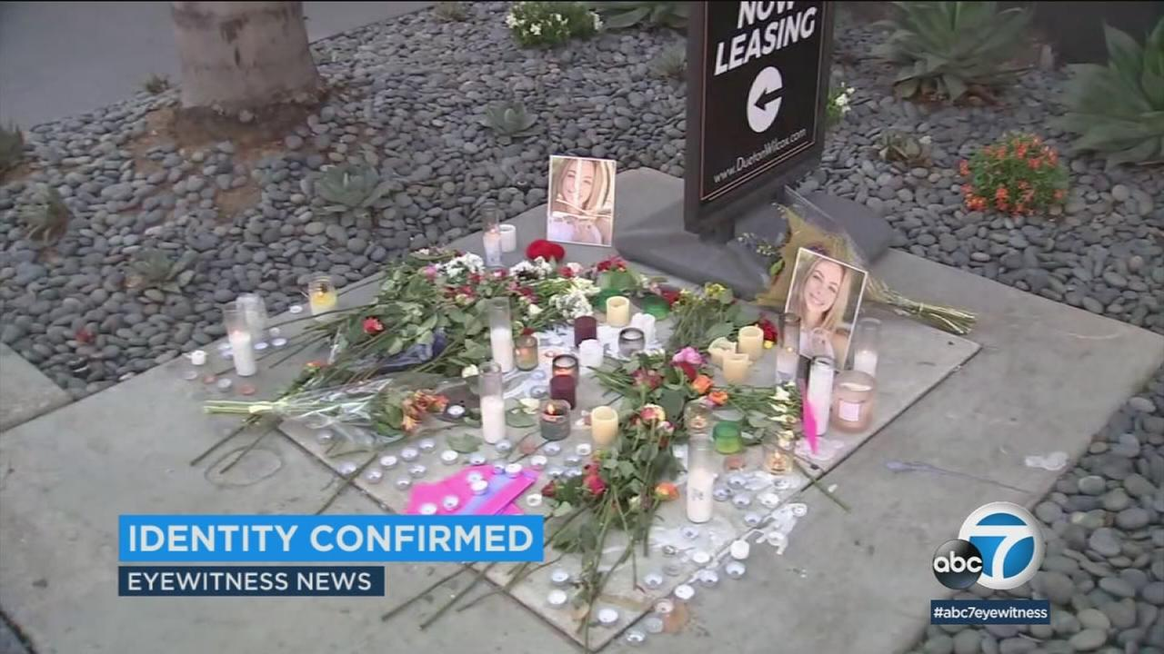 A memorial is set up for a woman who went missing in Hollywood and was later found dead in Northern California.