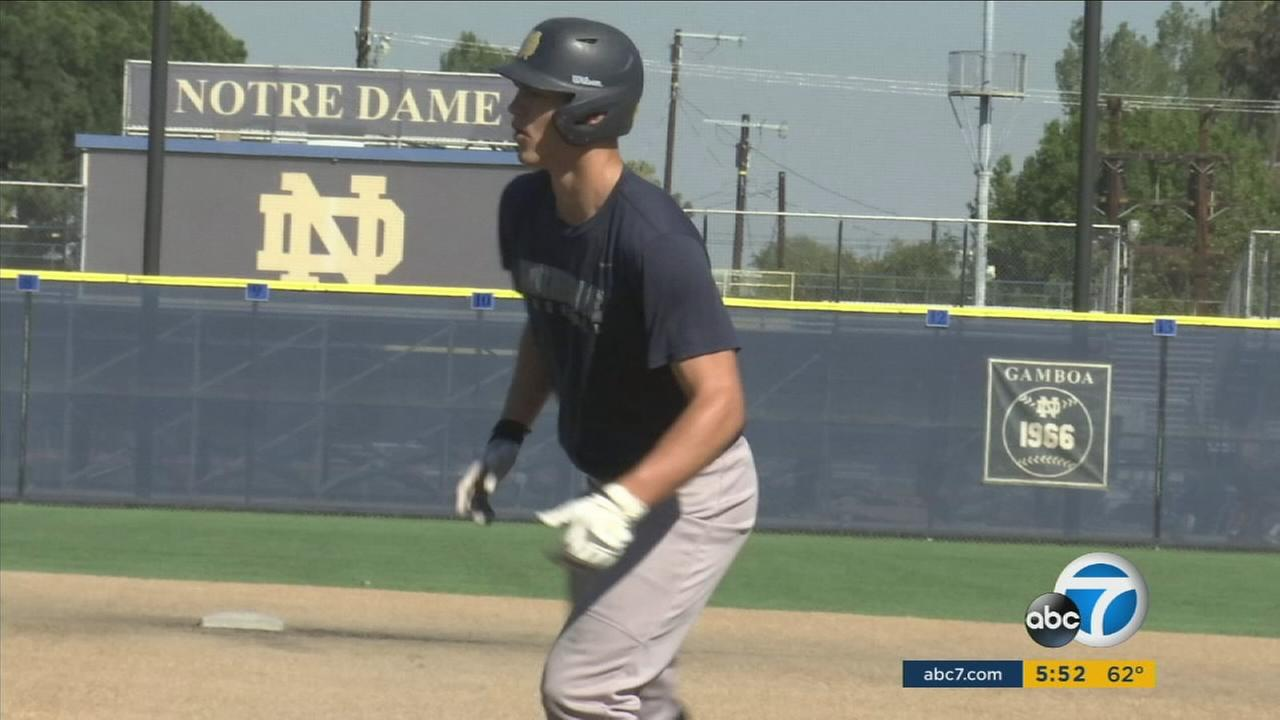 One of the players in Notre Dame High Schools baseball team, ranked No. 1 in the nation.