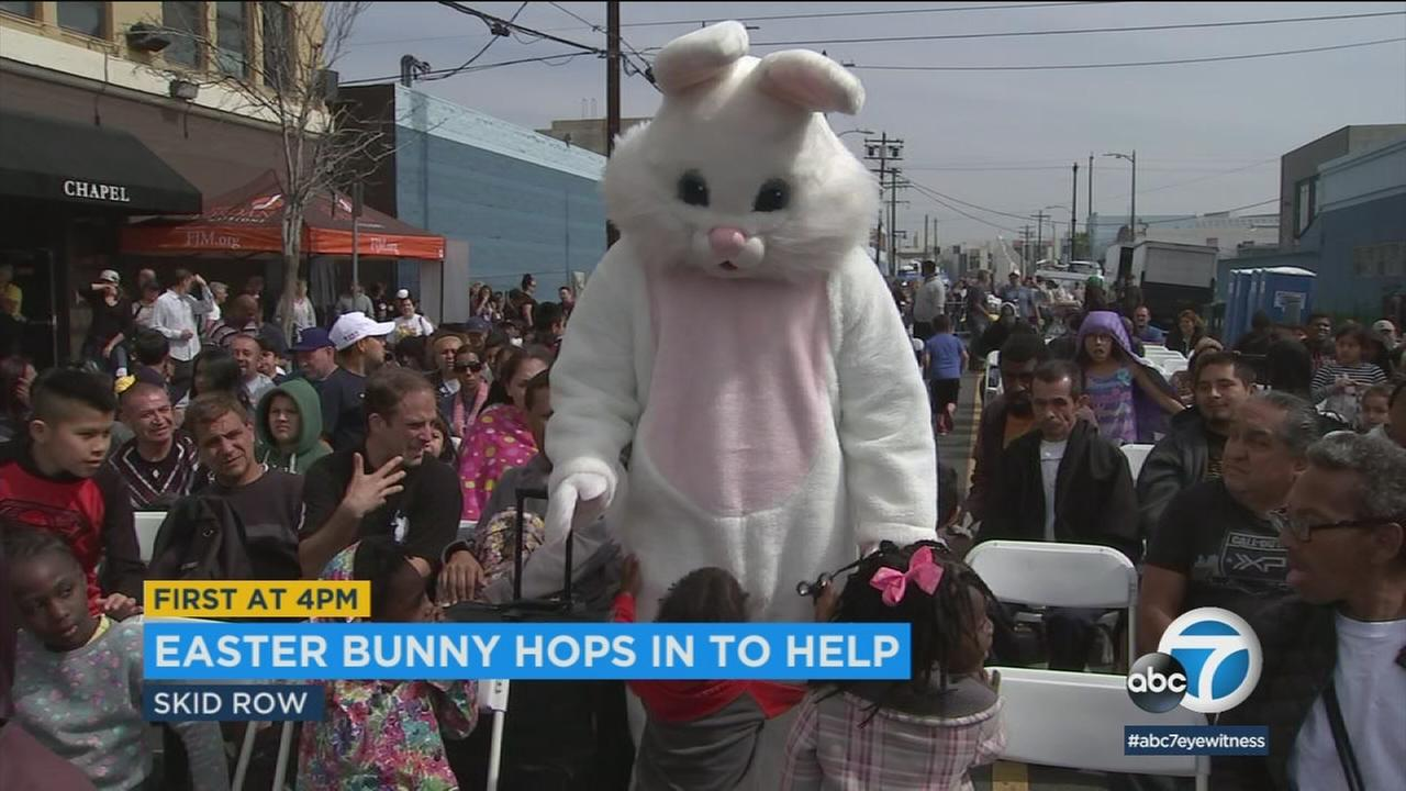 The Easter Bunny took time on Saturday to visit kids living in or near Skid Row, one of the poorest areas in downtown Los Angeles.