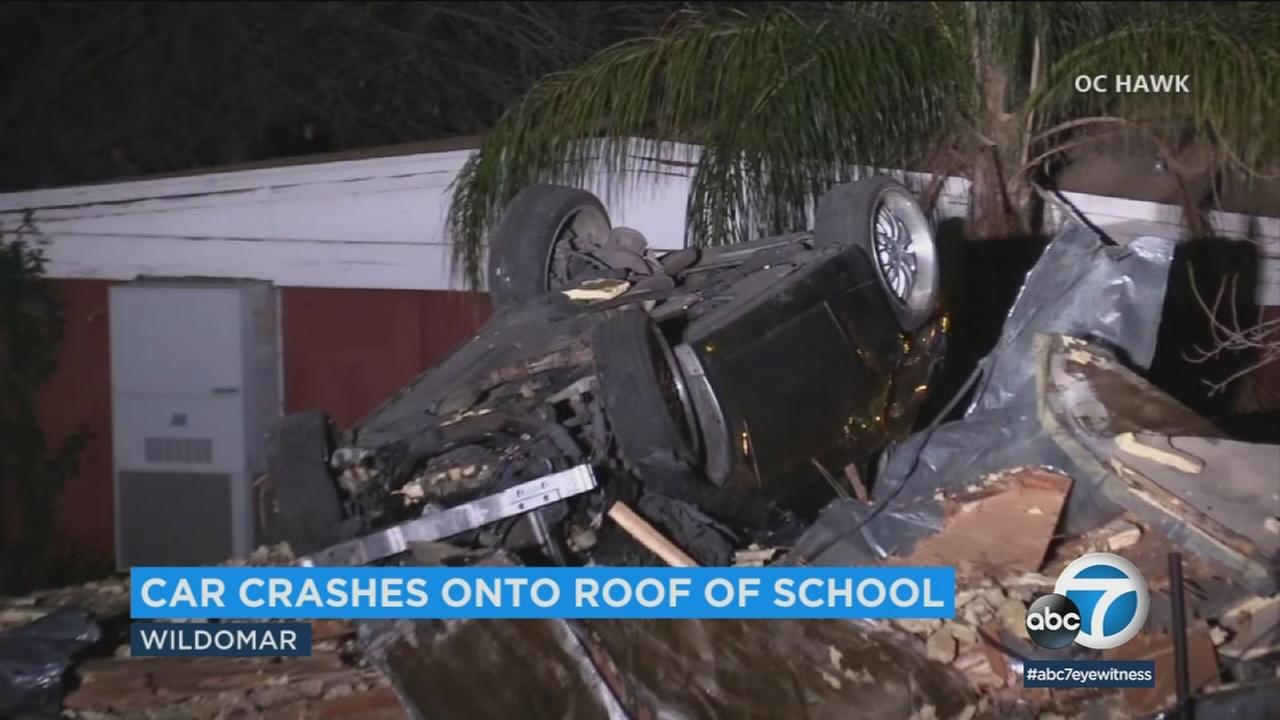 A car crashes onto a preschool in Wildomar late Friday, March 30, 2018.