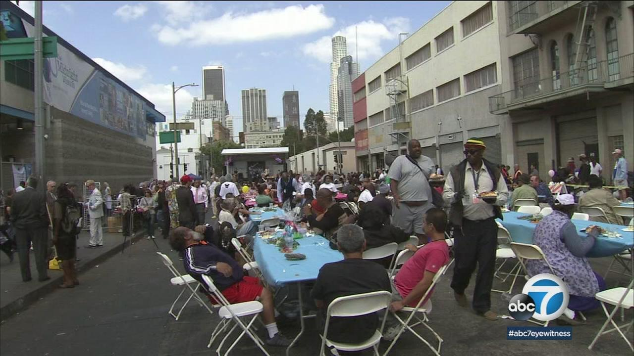 People on Skid Row celebrated Easter with a warm meal and entertainment at the Midnight Mission in downtown L.A.