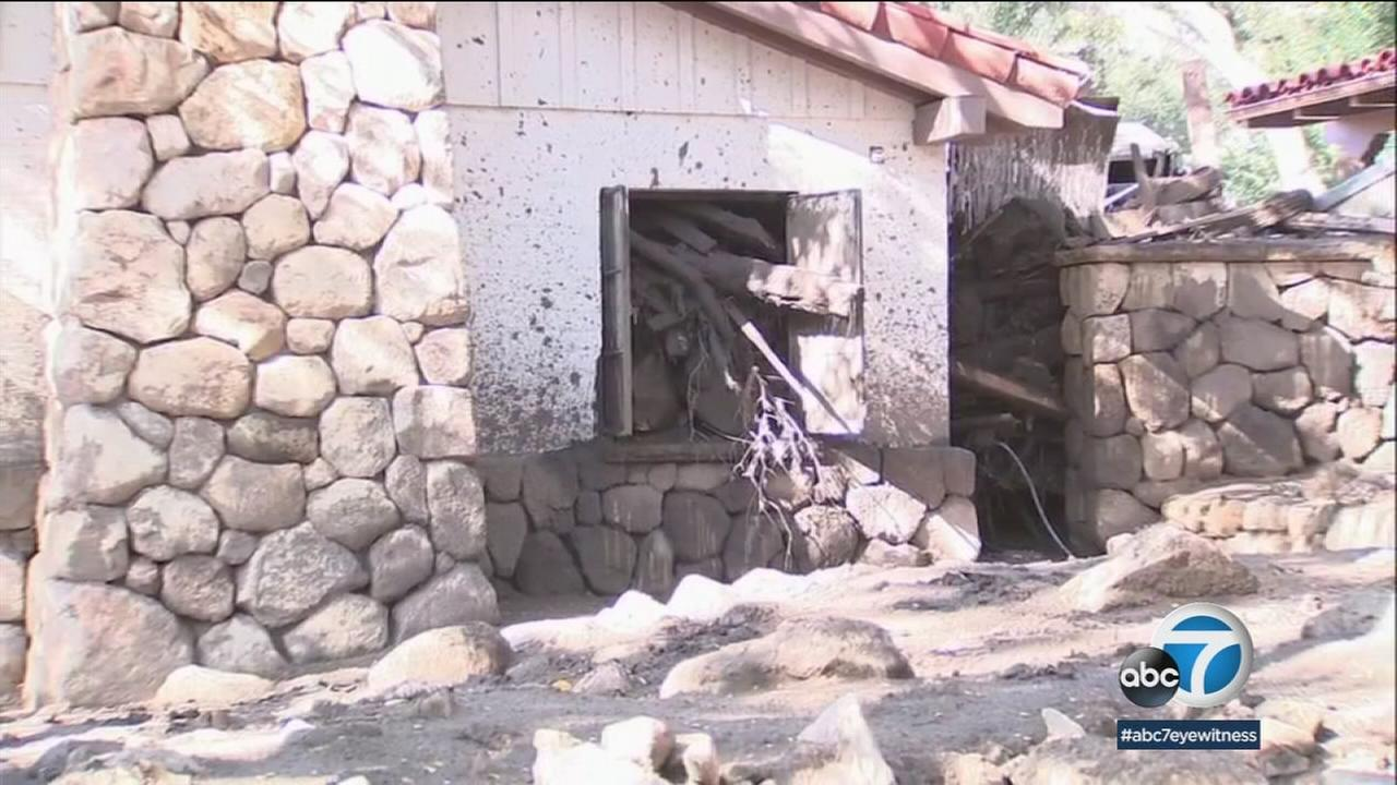 A destroyed home is shown in Montecito, months after a devastating mudslide flowed through the area.