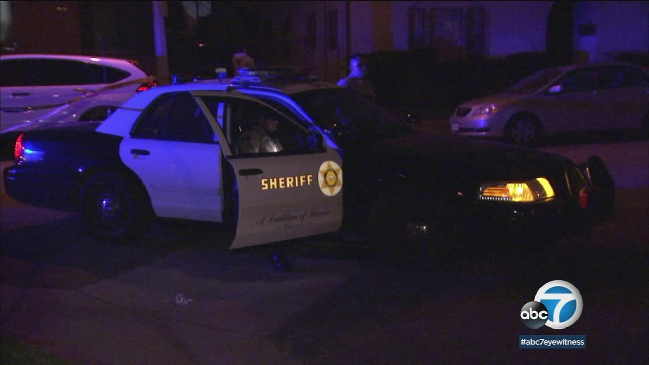 A Los Angeles County sheriffs patrol vehicle is shown in a photo at the scene of a deputy-involved shooting in East Los Angeles.