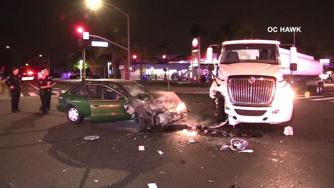 The scene of a violent crash in Costa Mesa that stemmed from a high-speed chase on Thursday, April 6, 2018.