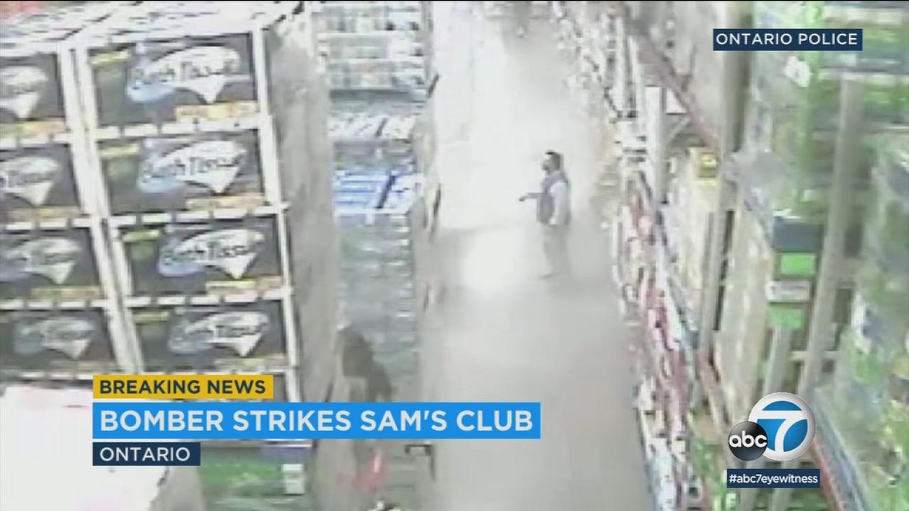 Surveillance video from an Ontario Sams Club shows aisles filling with smoke after the detonation of two explosive devices inside the store Thursday.