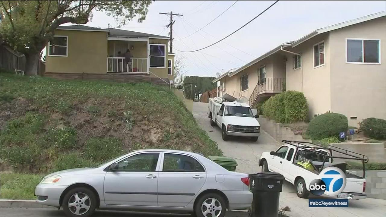 A home where a woman and dog were found dead after a fire is shown in a photo.