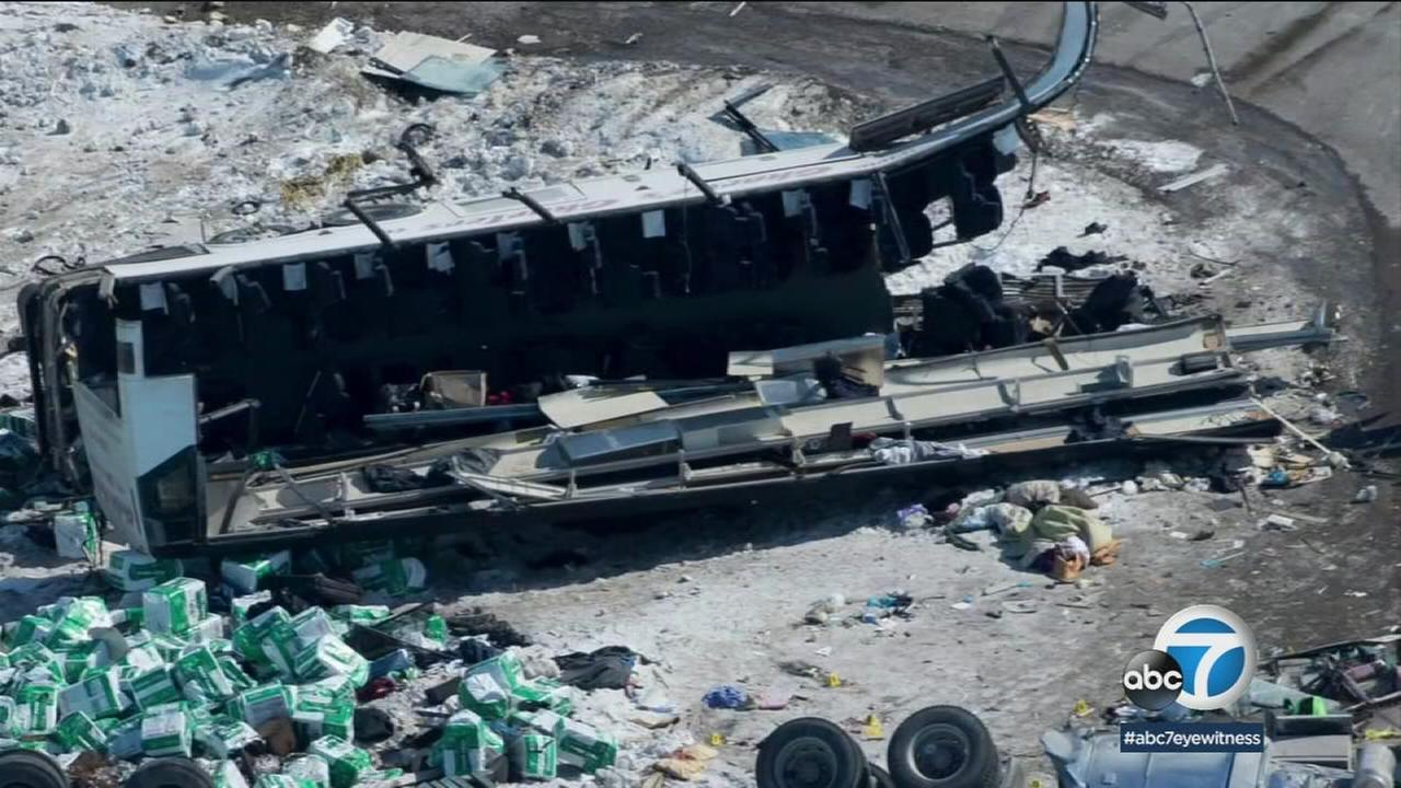 The mangled remains of a bus carrying a Canadian hockey team are shown in a photo.