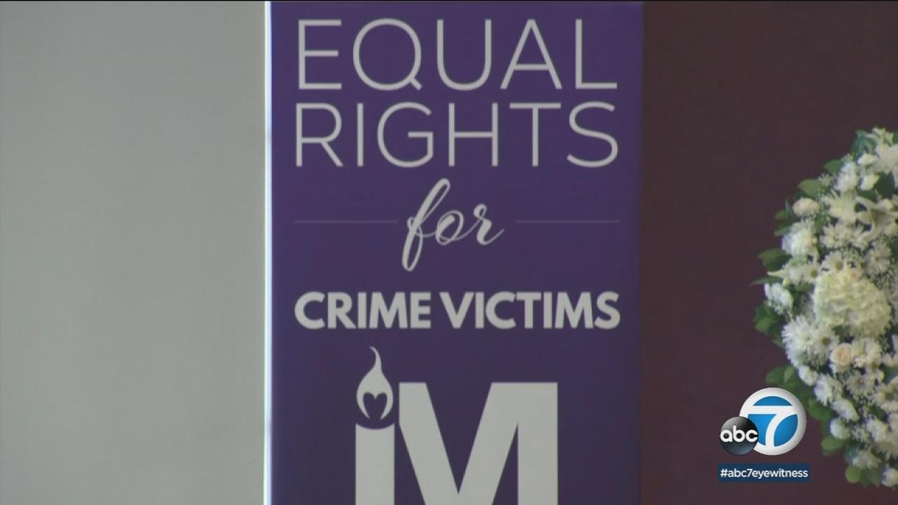 Victims of crime spoke at an Orange County rally on the 10th anniversary of Marsys Law, which helps expand victims rights.