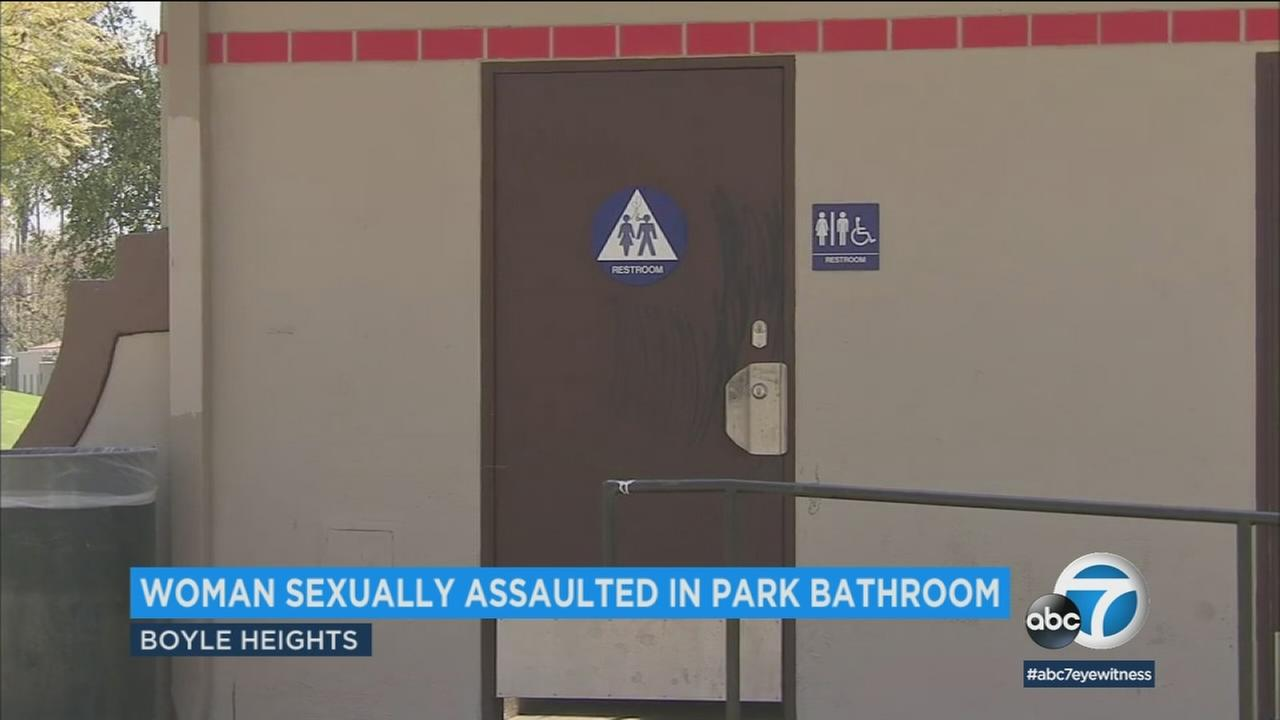 A woman was sexually assaulted inside a bathroom at Hollenbeck Park in Boyle Heights.