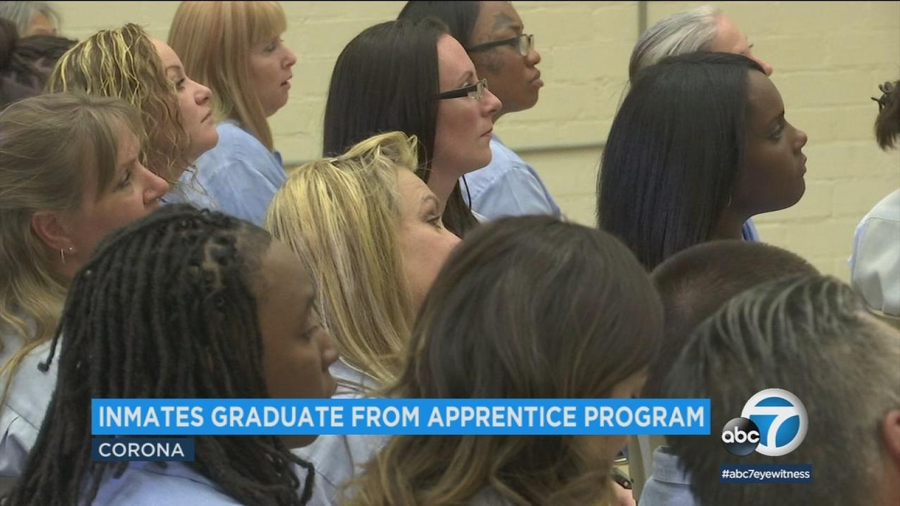 Female inmates are shown about to graduate from a pre-apprentice program at the California Institution for Women.