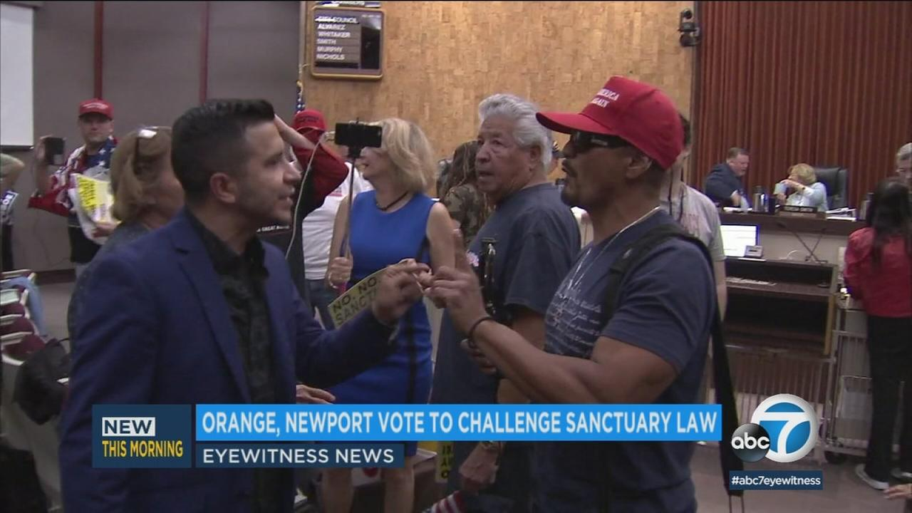 Orange County residents argue during a city council meeting about the federal lawsuit against Californias so-called sanctuary state law.