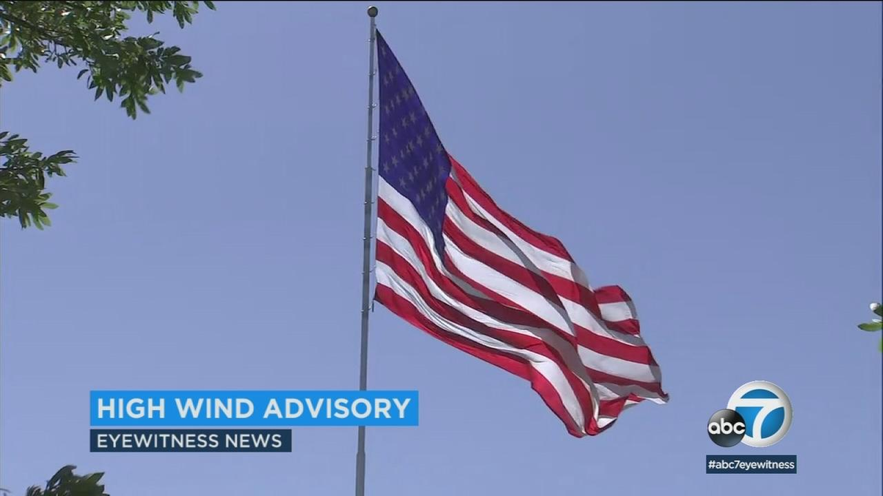 Winds caused an American flag to quickly move on its pole.