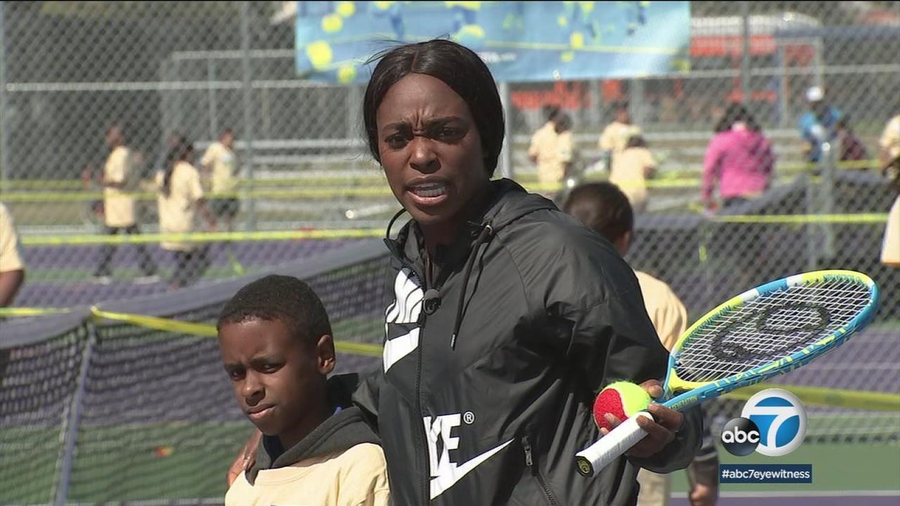 U.S. Open tennis champion Sloane Stephens is helping rebuild tennis courts at schools around Los Angeles.