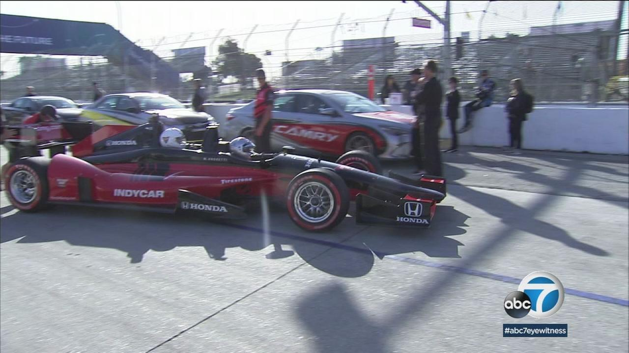 An IndyCar is shown in Long Beach during the three-day Toyota Grand Prix event.