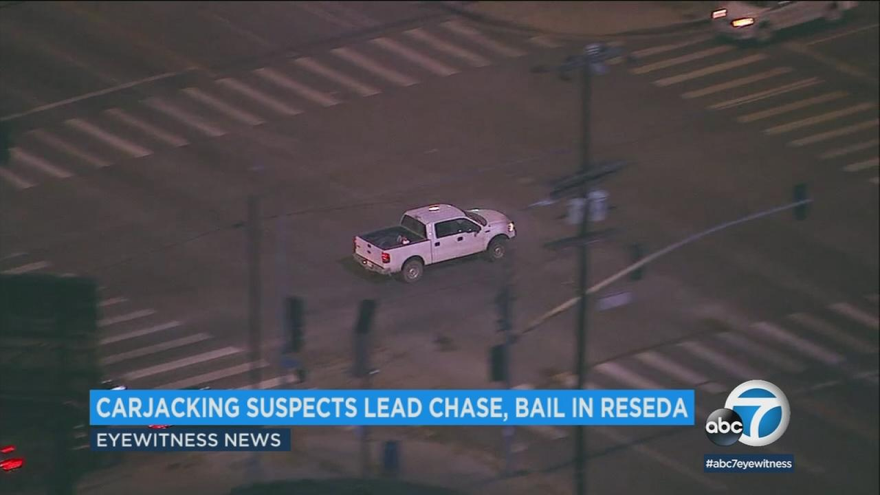 A high-speed chase that started as a carjacking and ended in Reseda on Monday, April 16, 2018.