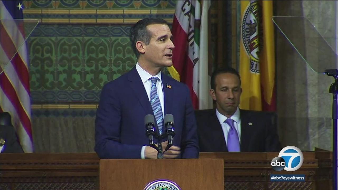 Mayor Eric Garcetti delivers his State of the City address on Monday, April 16, 2018.