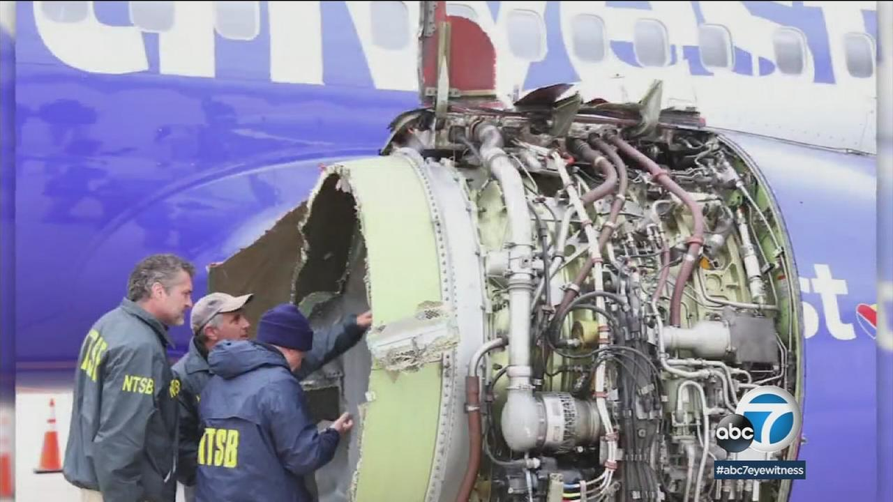 A blow engine off the side of a Southwest Airlines flight is shown in a photo.