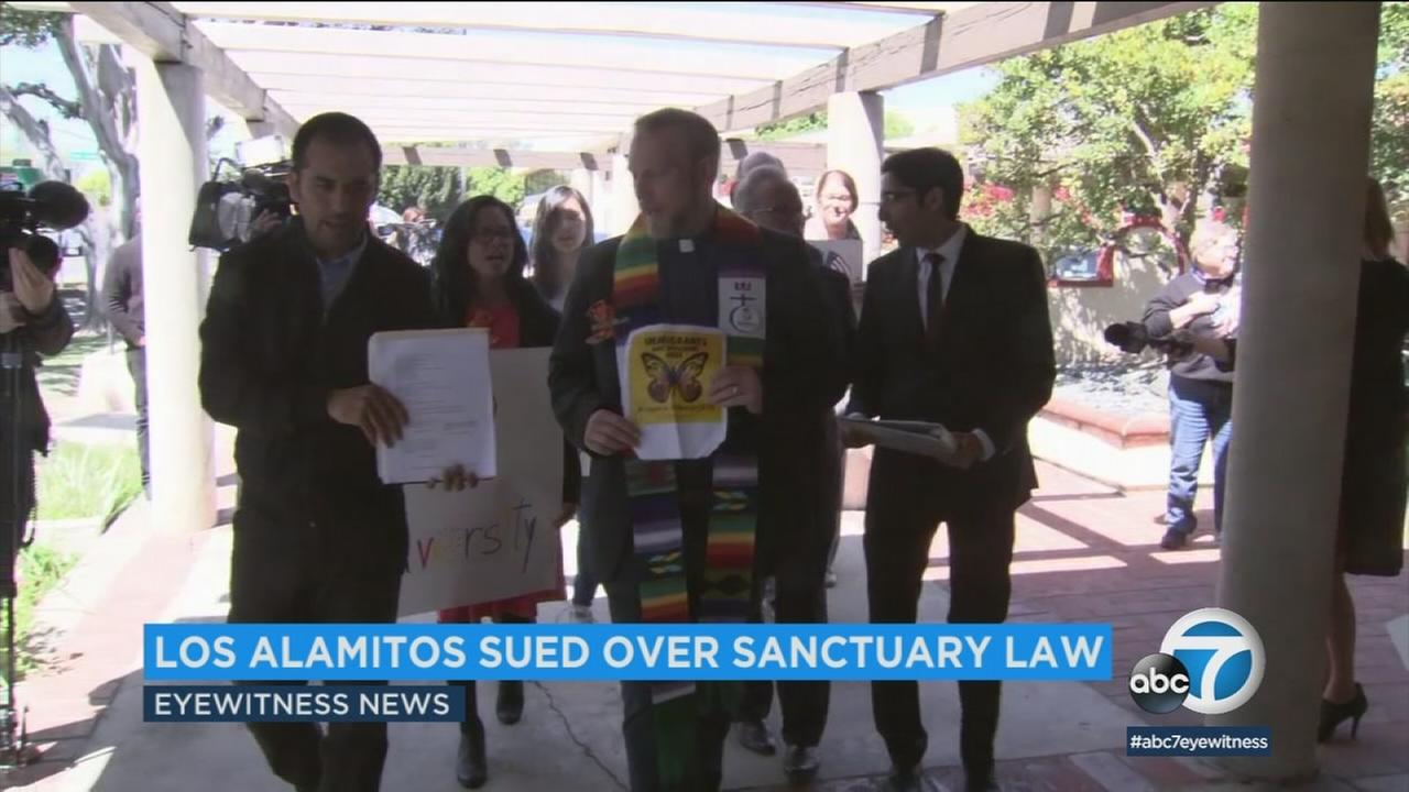 Some families in Los Alamitos are challenging the city after leaders voted to opt out of Californias sanctuary state law.