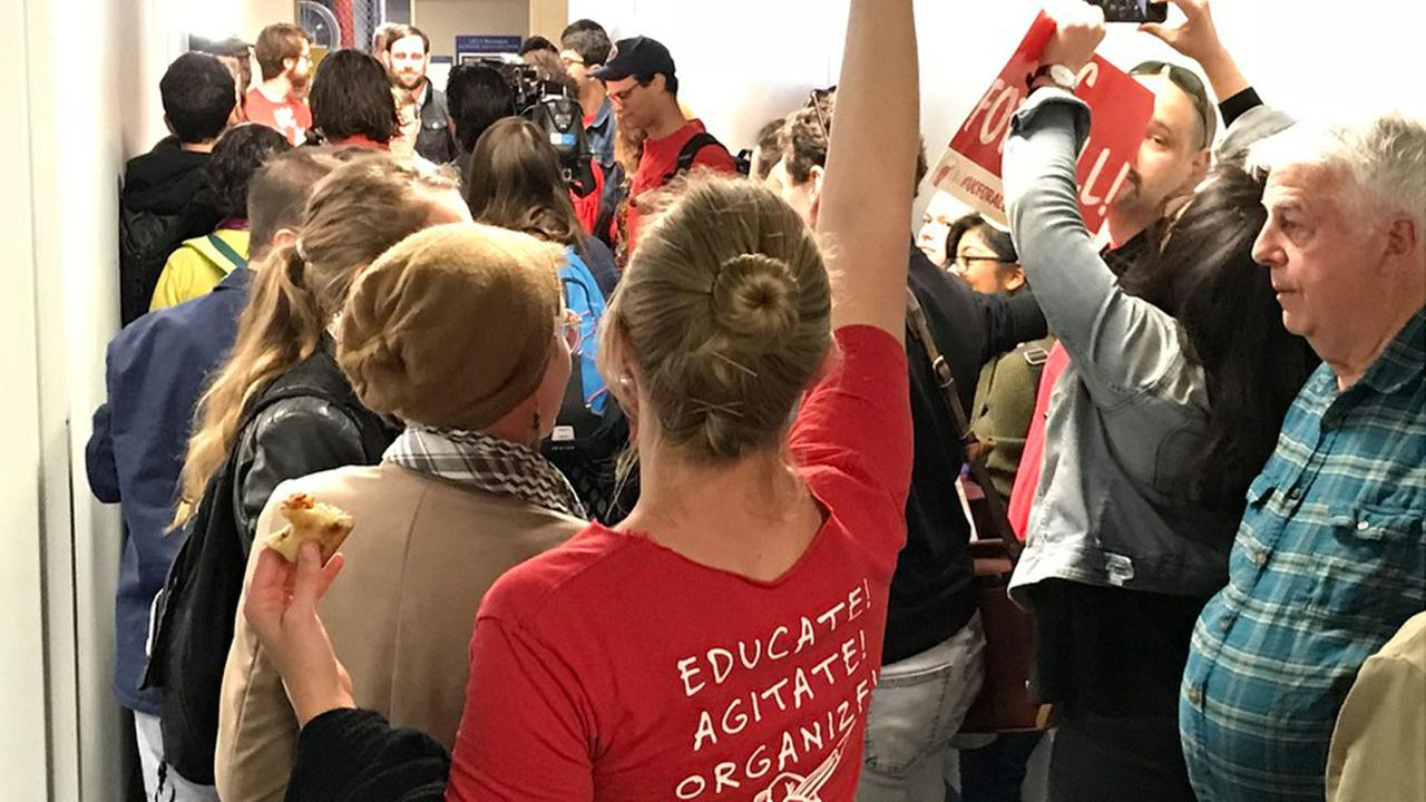 A protest at UCLA after a union that represents more than 25,000 UC employees announced Thursday, April 19, 2018, that 97 percent of its members have voted to authorize a strike.