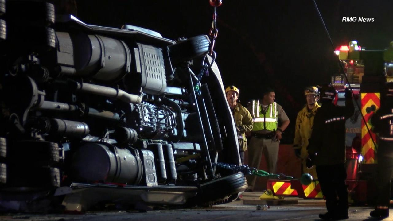 The driver of a semi-truck was killed Thursday evening in an overturn crash on the transition road from the westbound 60 Freeway to the 605 Freeway in Whittier, authorities said.