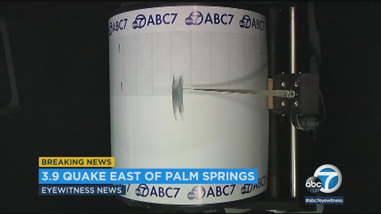 The ABC7 quakecam measured the seismic shaking when a 3.9 earthquake rattled the Coachella Valley.