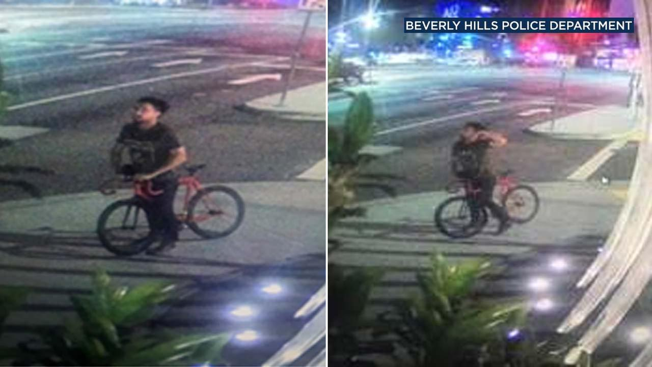 These surveillance images show a suspect wanted for allegedly attacking a woman in Beverly Hills.
