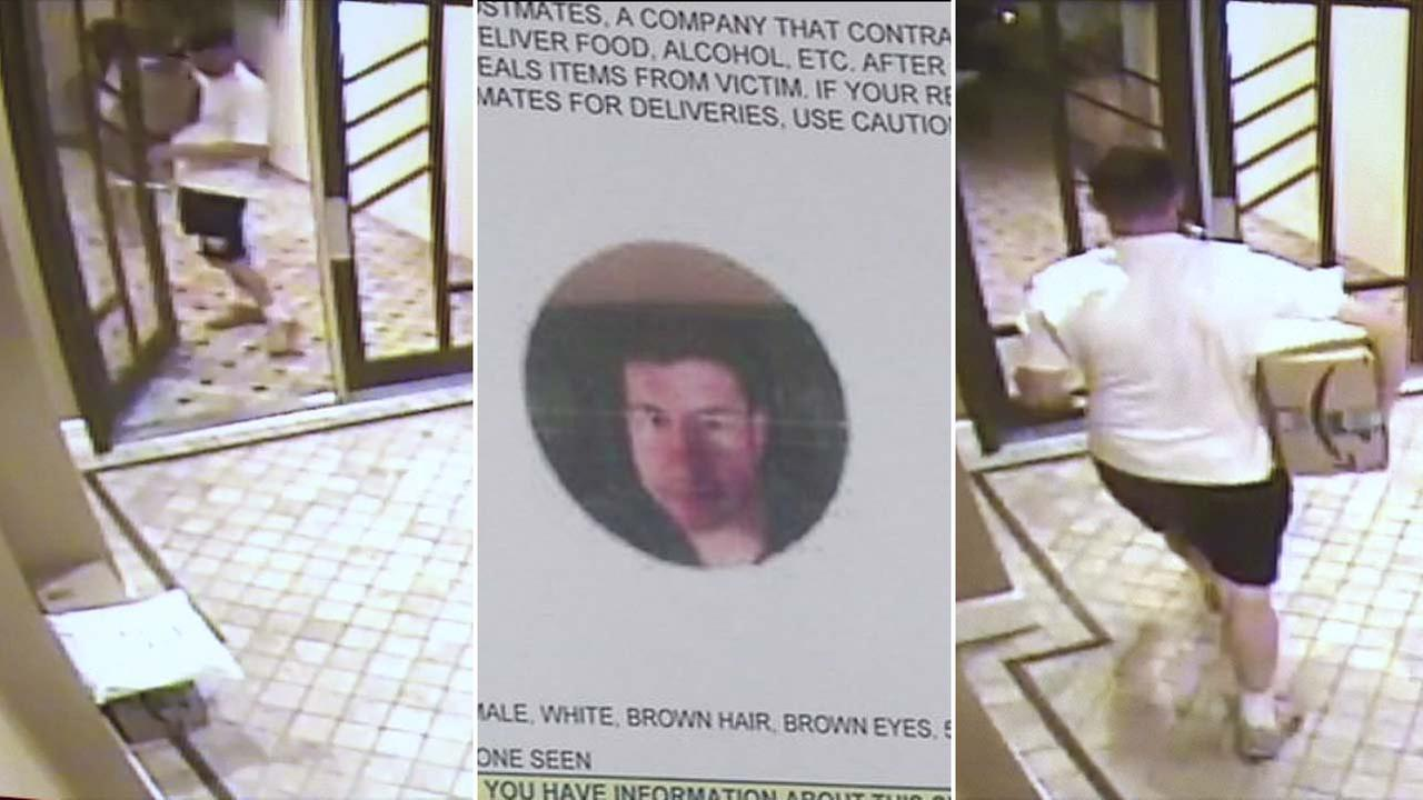 A man working for Postmates is seen in surveillance images taking a package from the lobby of a building in Studio City in March.