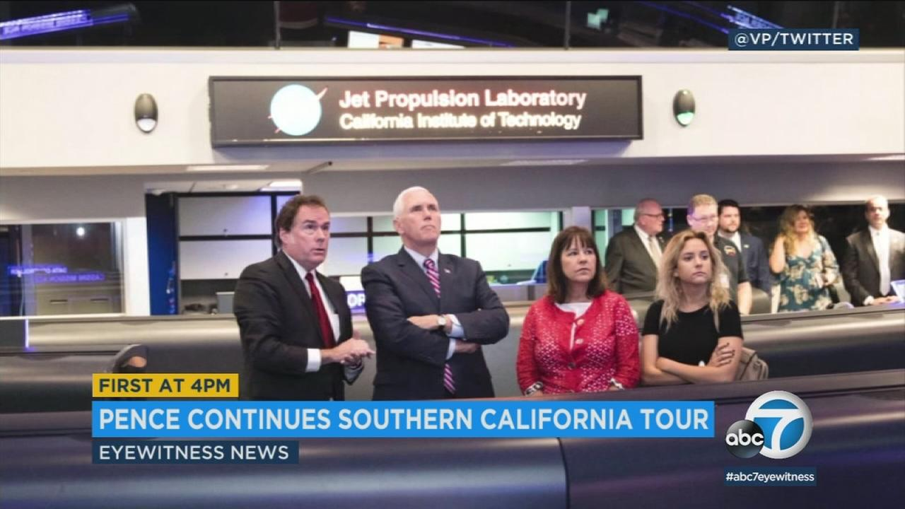 Vice President Mike Pence toured the JPL in Pasadena on Saturday, then went to fundraising events on Sunday.