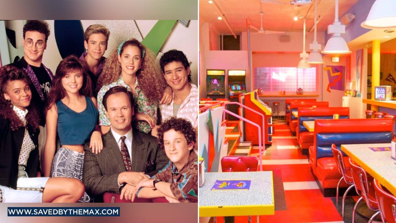 (Left) The cast ,members of Saved by the Bell are seen in an undated photo. (Right) A photo shows the interior of the Saved by he Max pop-up diner in West Hollywood.