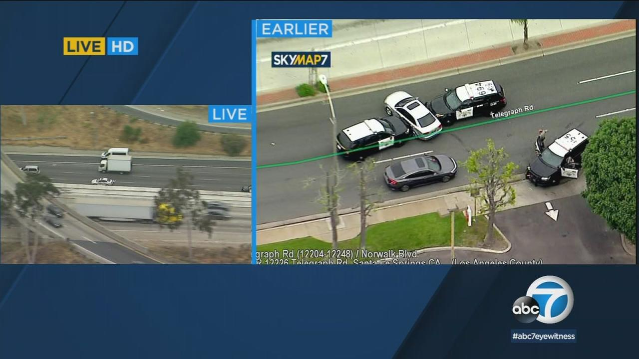Police are chasing a stolen car suspect driving an Audi from Orange County into Los Angeles County.