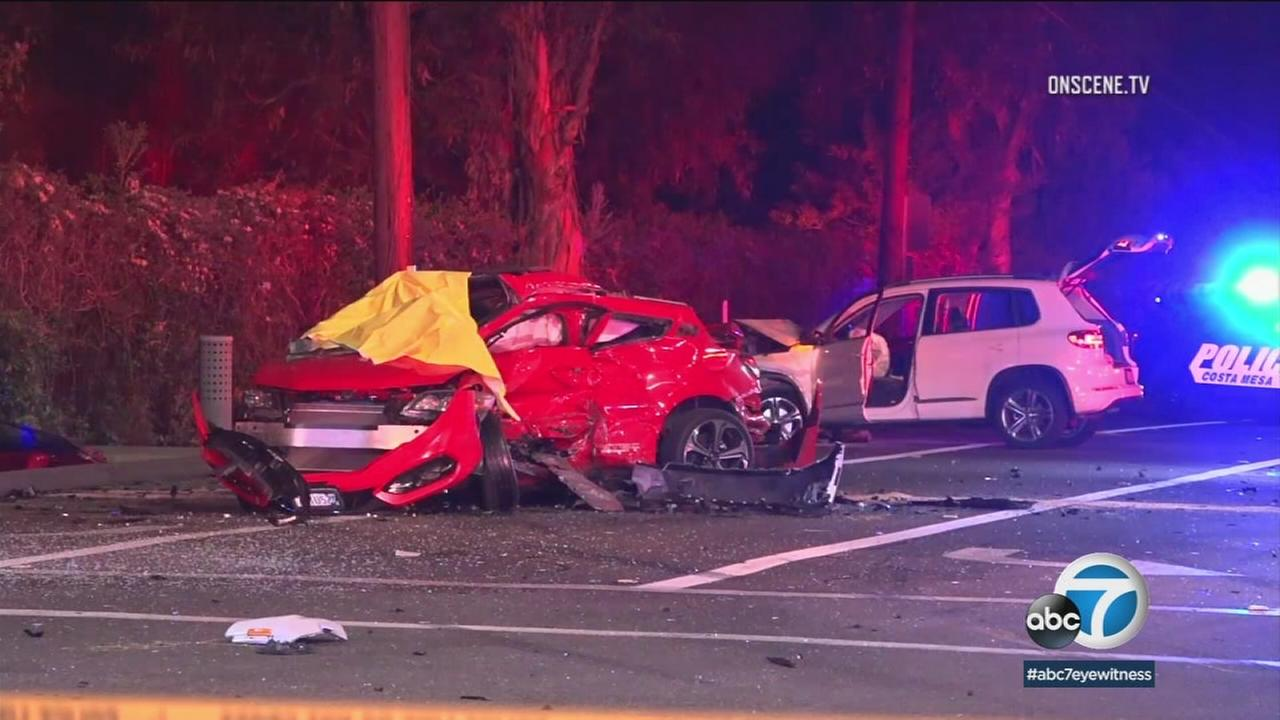 Mangled cars are shown in Costa Mesa after a deadly three-car crash happened Tuesday morning.