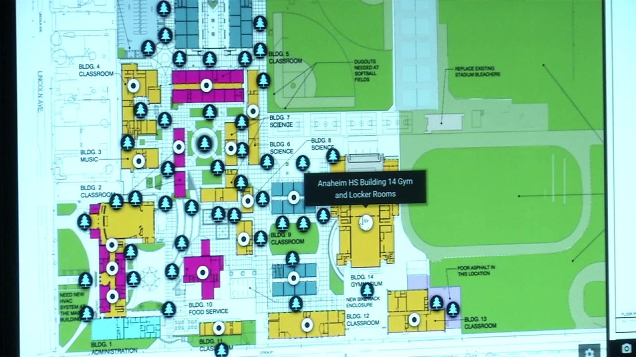 A map showing the interior of Anaheim High School is shown.