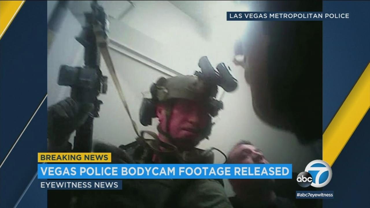 An image from police bodycam video minutes after the Las Vegas massacre on Oct. 1, 2018.
