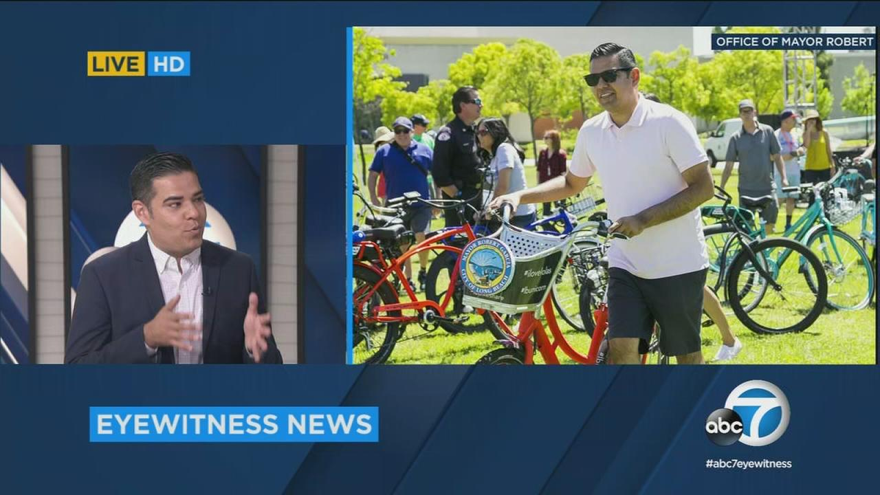 Long Beach Mayor Robert Garcia is shown during a live interview in the ABC7 studios and in a photo of him at a Long Beach event.