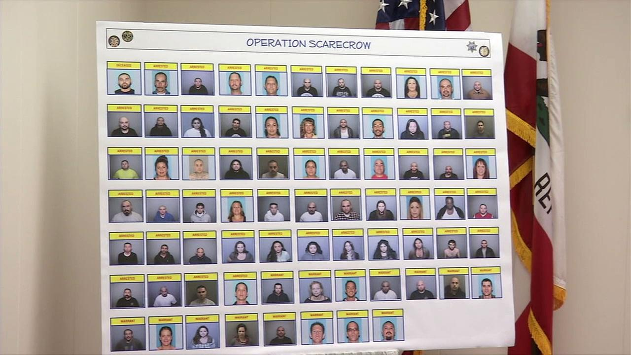 An image shows the mugshots of the 85 people arrested during Operation Scarecrow, which targeted the Sureno street gang and Mexican Mafia.