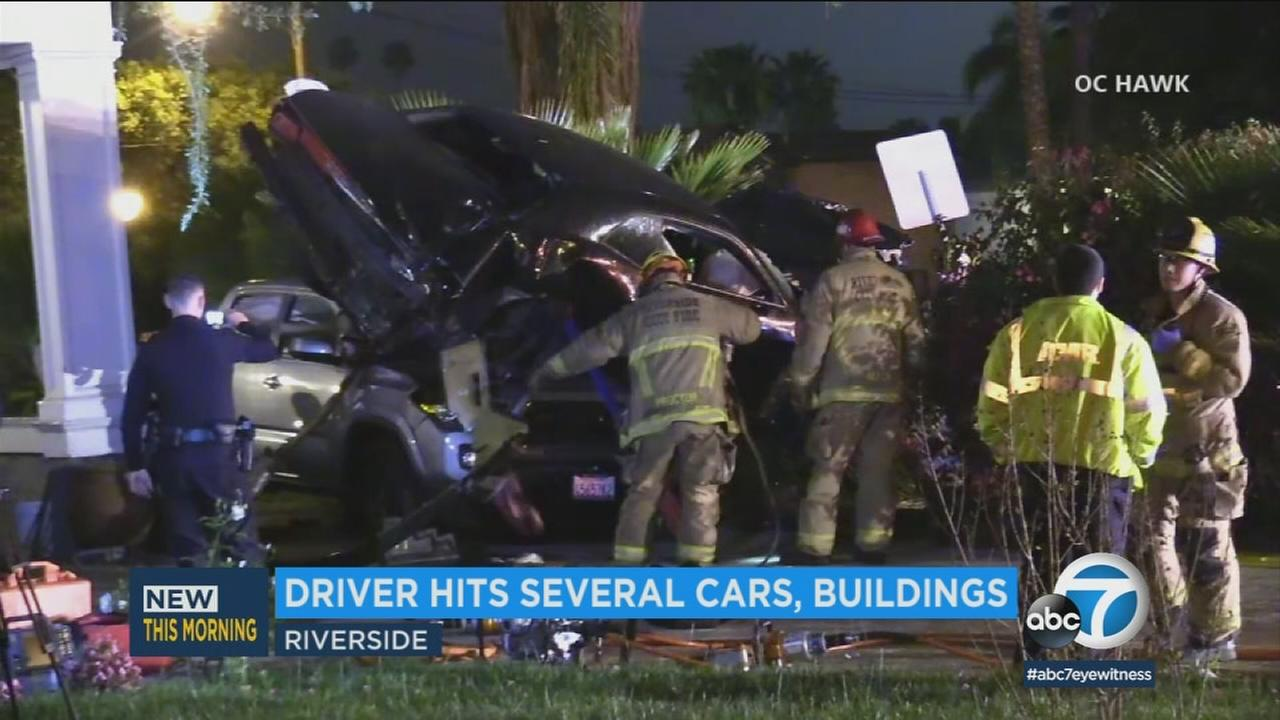 A driver miraculously escaped serious injury in a spectacular crash on a residential street in Riverside.
