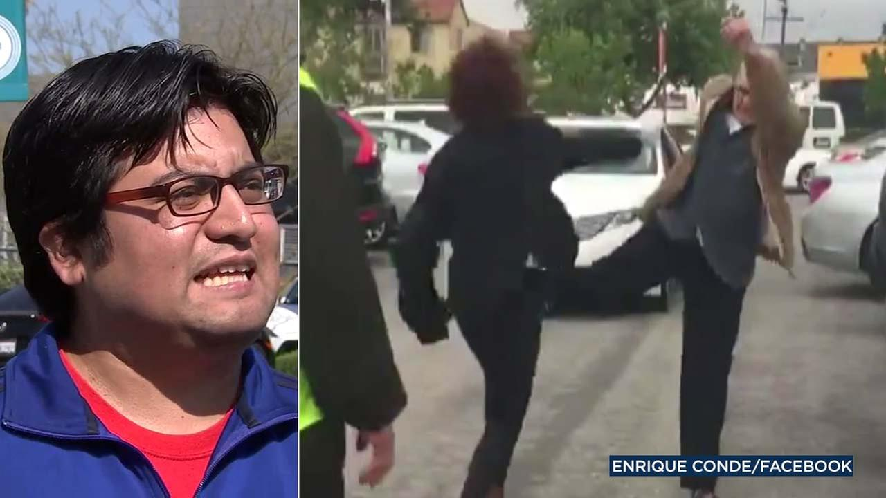 Enrique Conde, left, recorded a confrontation in a Santa Monica College parking lot, where a man yelled racial slurs at a woman during a dispute.
