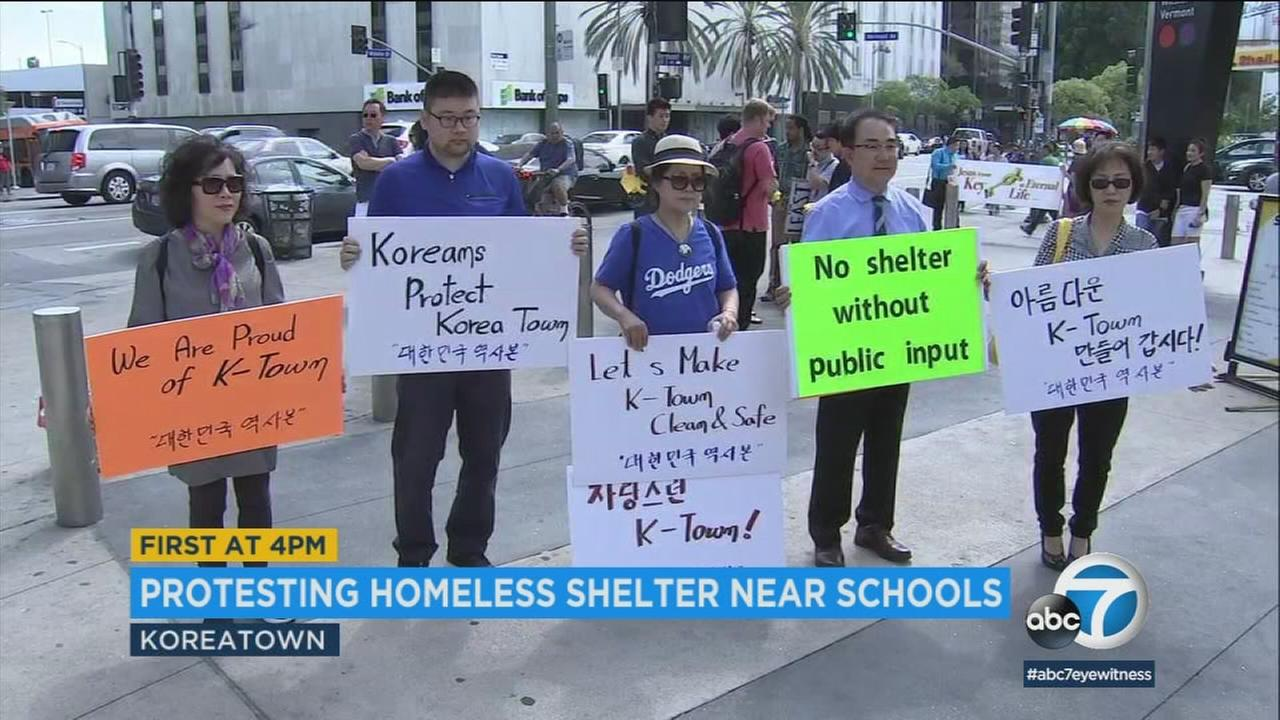 Koreatown residents protested Sunday against a plan to put a homeless shelter near schools.