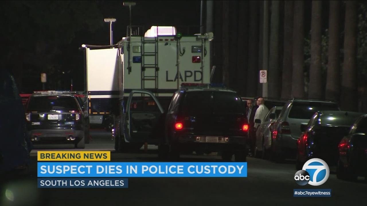 Los Angeles police are investigating the death of a suspect following a use-of-force incident involving officers and a prowler in South Los Angeles.